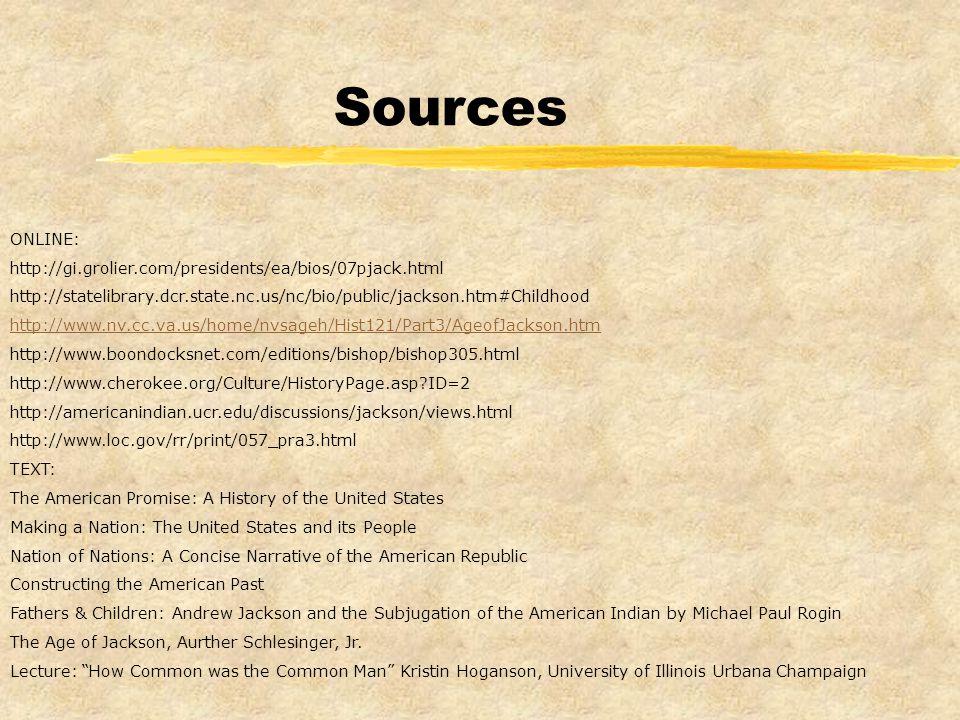 Sources ONLINE: http://gi.grolier.com/presidents/ea/bios/07pjack.html