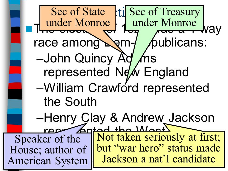 The Election of 1824 Sec of State under Monroe. Sec of Treasury under Monroe. The election of 1824 was a 4-way race among Dem-Republicans: