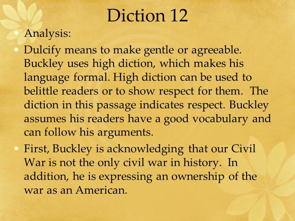 Diction 12 Analysis: