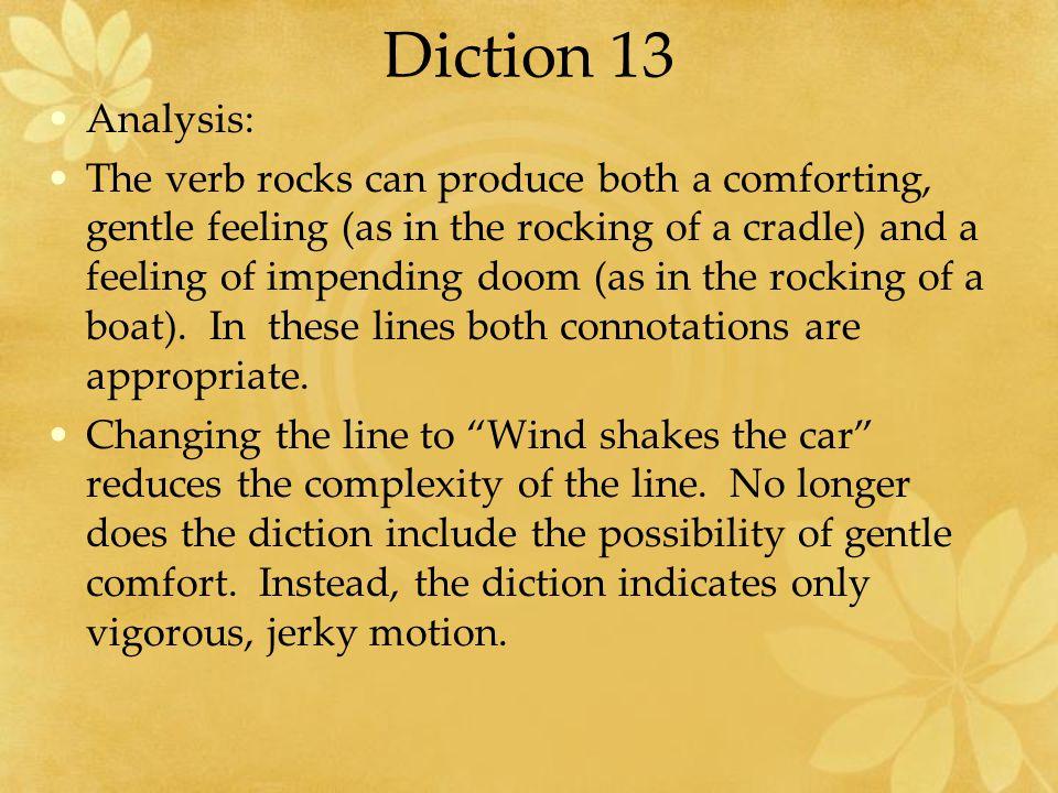 Diction 13 Analysis: