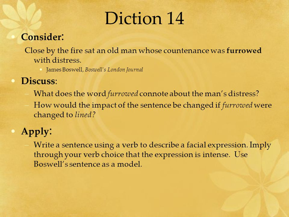 Diction 14 Consider: Discuss: Apply: