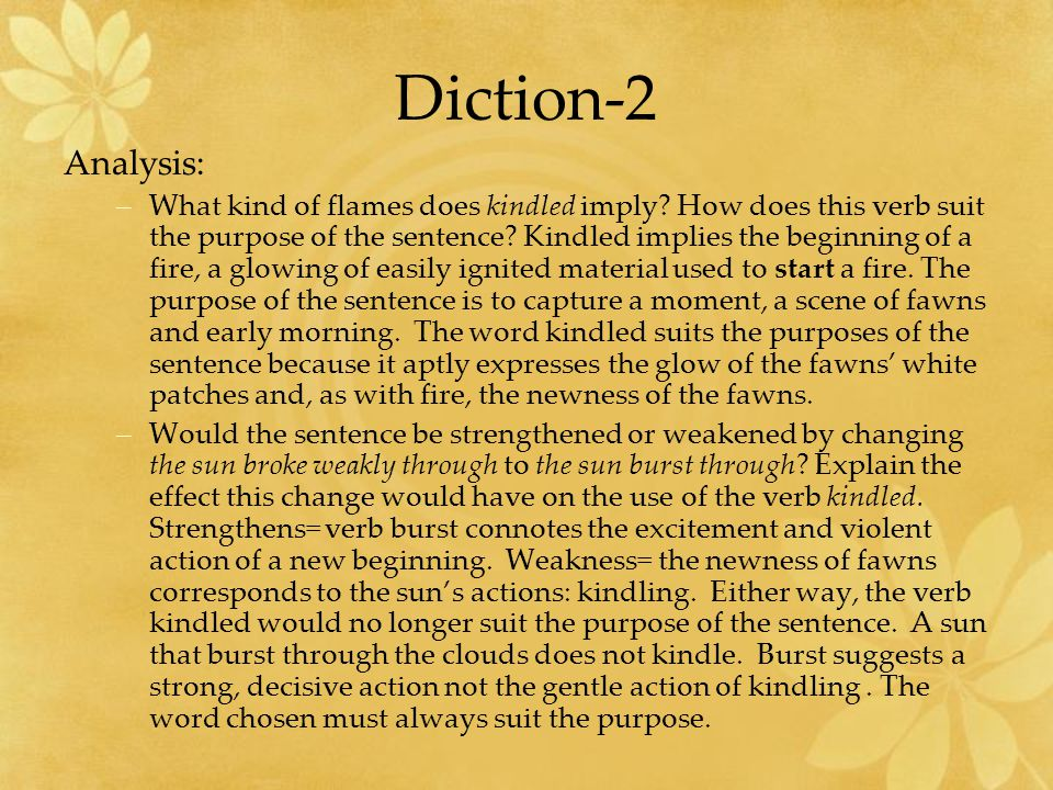 Diction-2 Analysis: