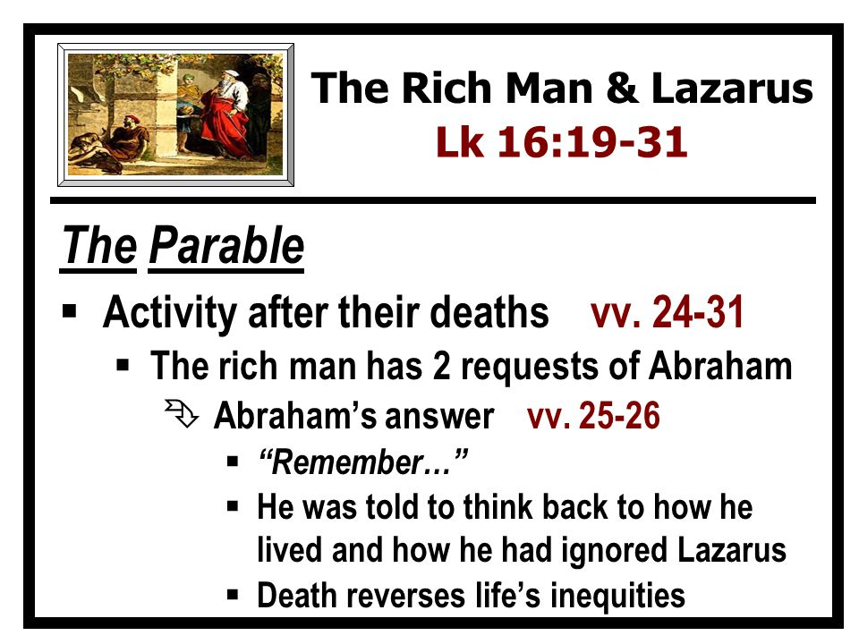 The Parable Activity after their deaths vv. 24-31