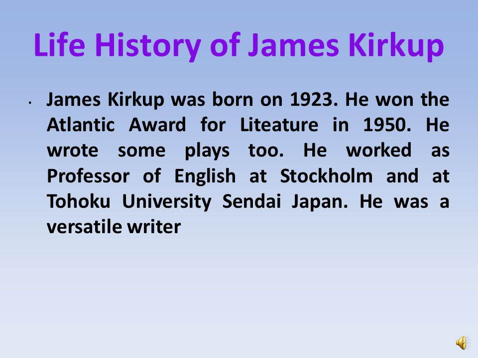 Life History of James Kirkup