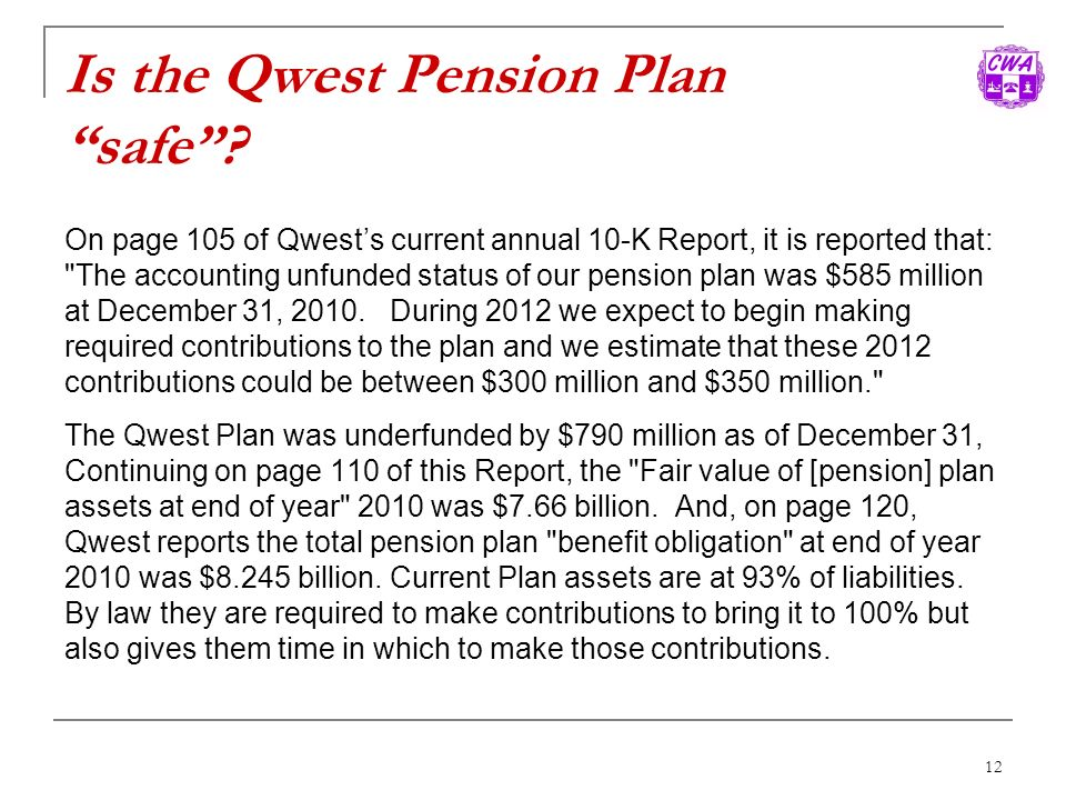 Is the Qwest Pension Plan safe