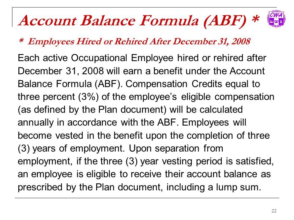 Account Balance Formula (ABF)