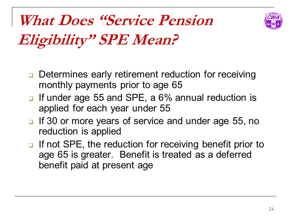 What Does Service Pension Eligibility SPE Mean