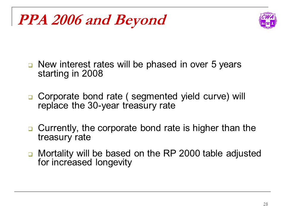 PPA 2006 and Beyond New interest rates will be phased in over 5 years starting in 2008.