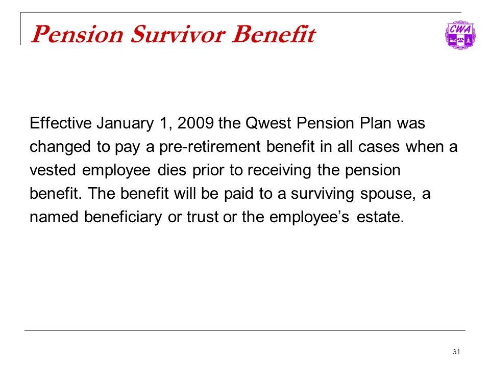 Pension Survivor Benefit