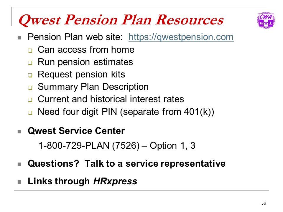 Qwest Pension Plan Resources