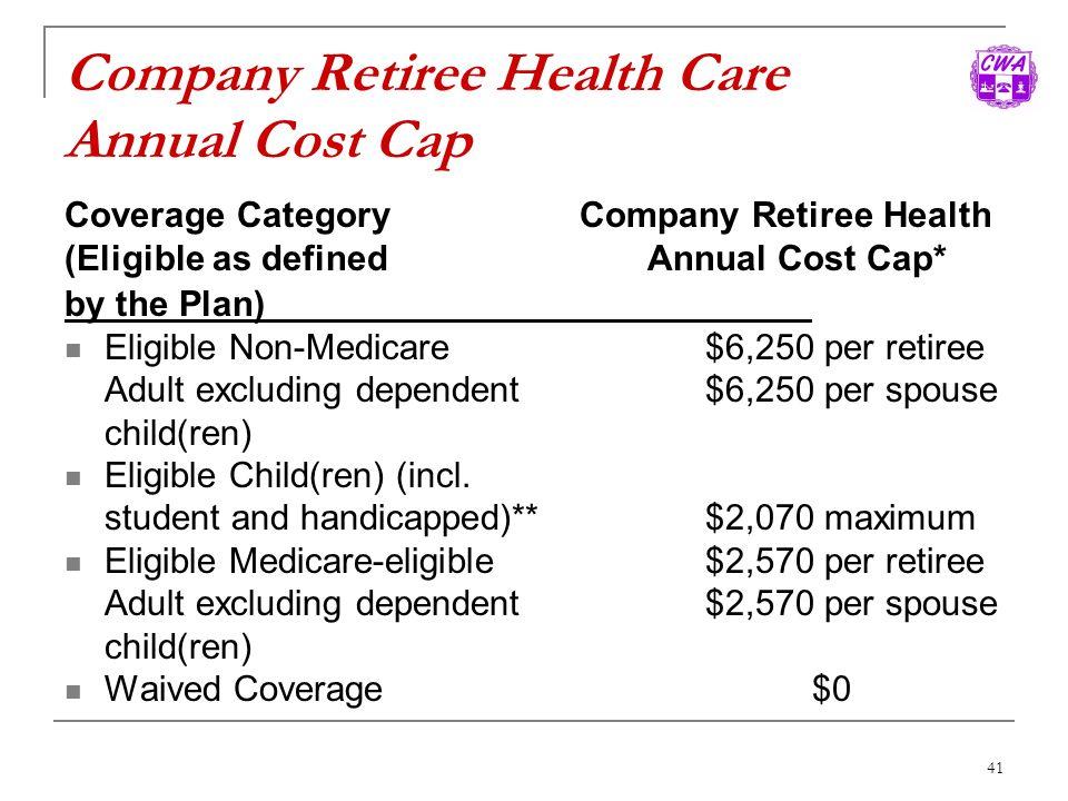 Company Retiree Health Care Annual Cost Cap
