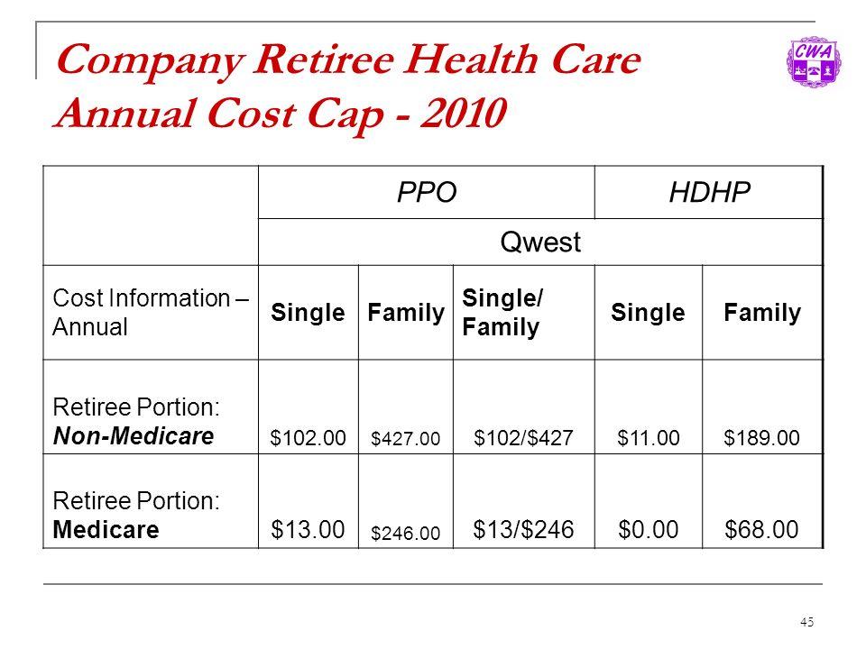 Company Retiree Health Care Annual Cost Cap - 2010
