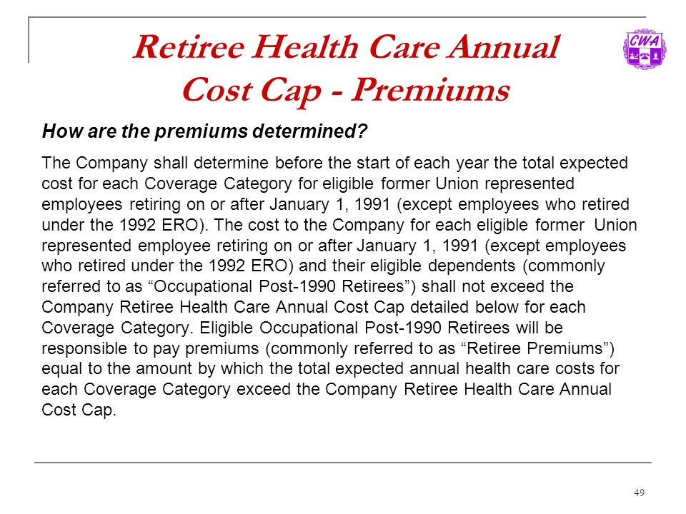 Retiree Health Care Annual Cost Cap - Premiums
