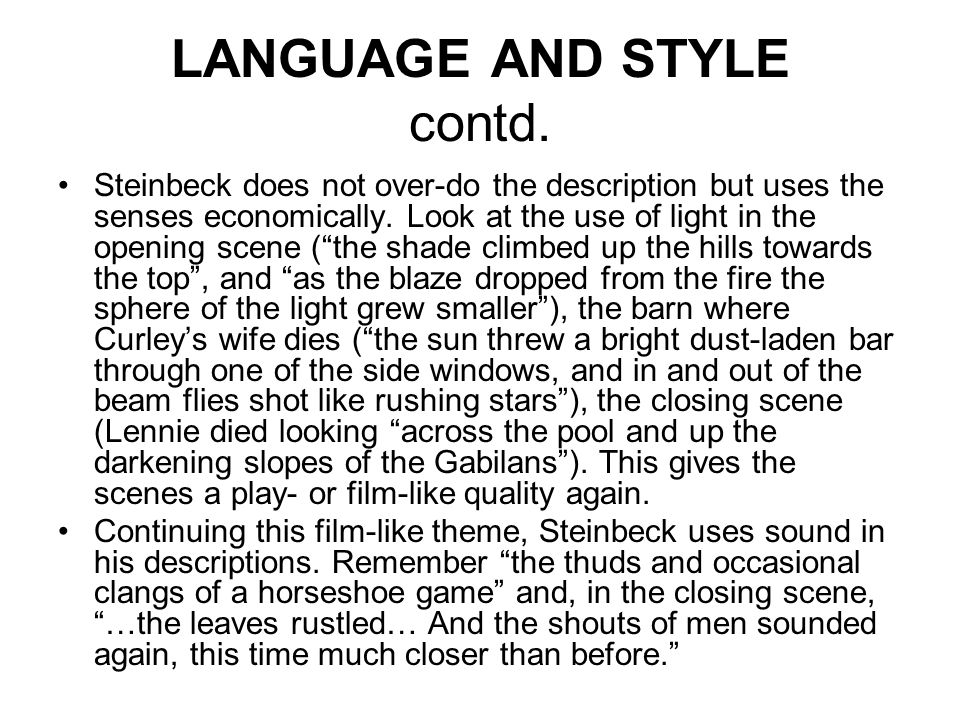 LANGUAGE AND STYLE contd.