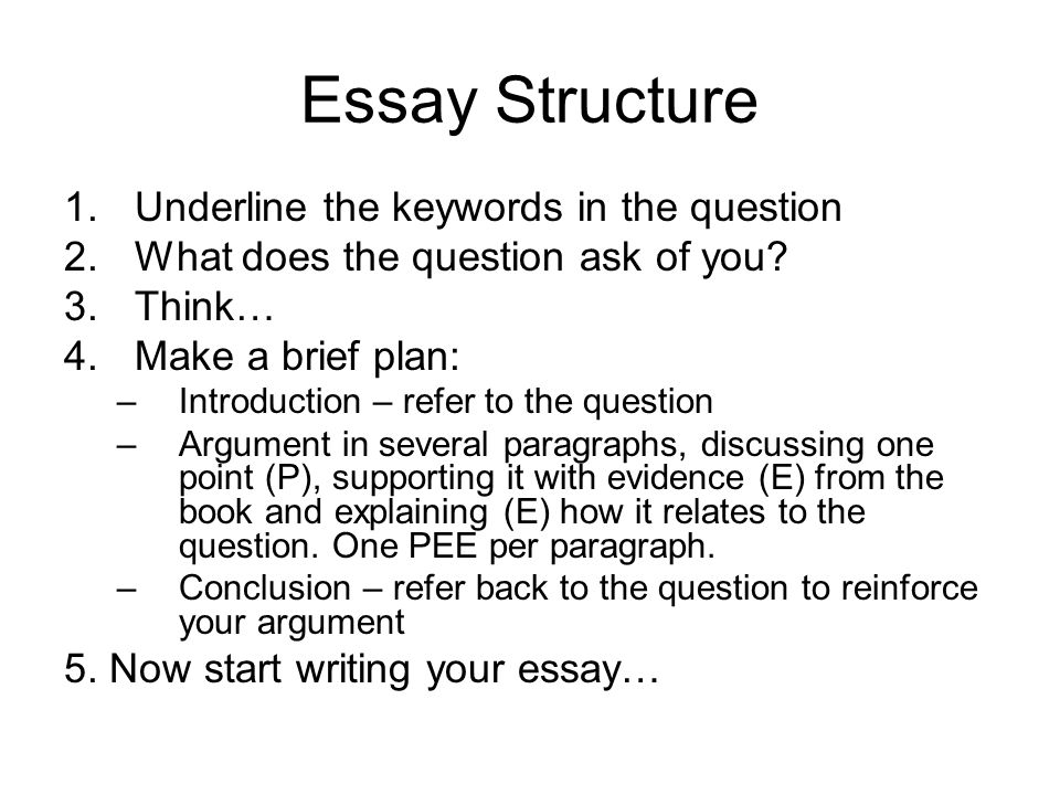 Essay Structure Underline the keywords in the question