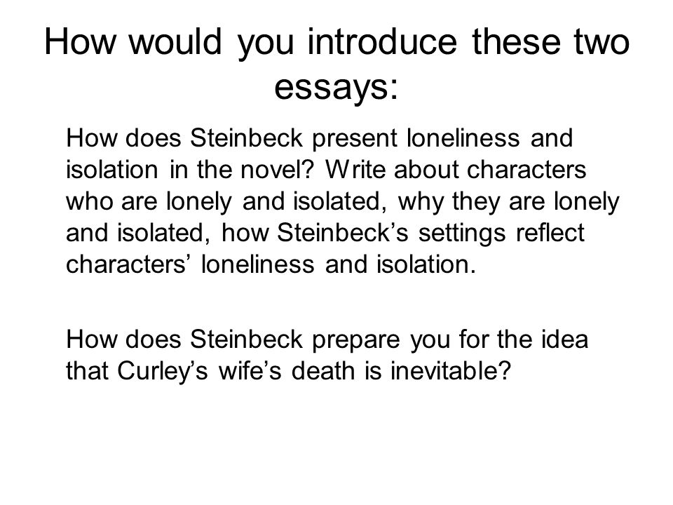 How would you introduce these two essays: