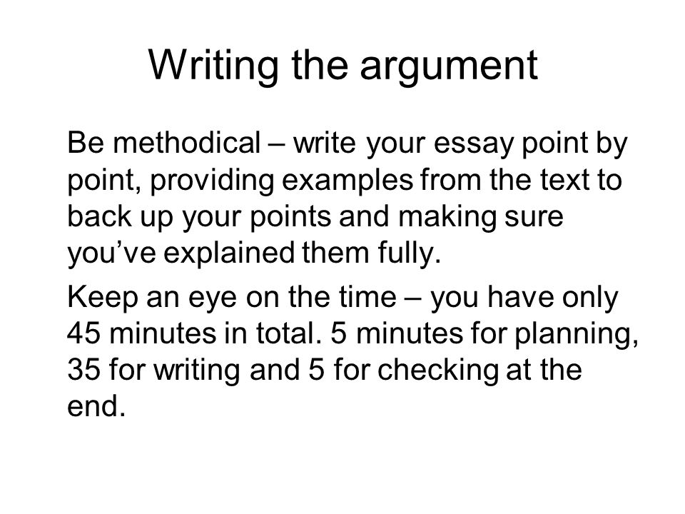 Writing the argument