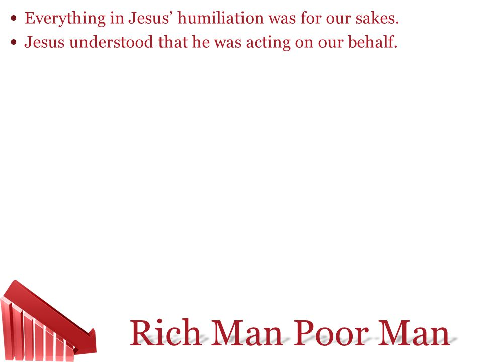 Everything in Jesus' humiliation was for our sakes.
