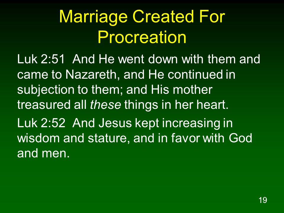 Marriage Created For Procreation