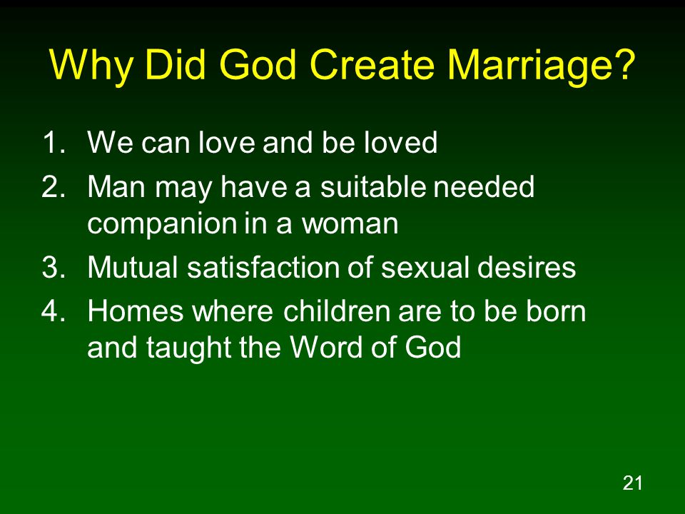 Why Did God Create Marriage