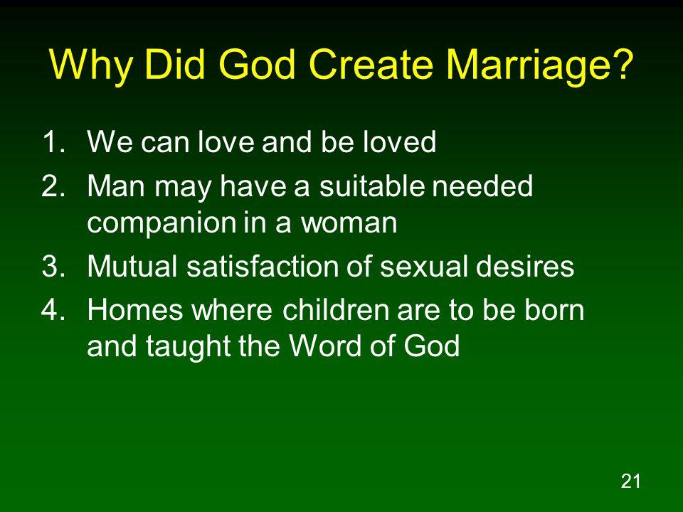 Why Did God Create Marriage