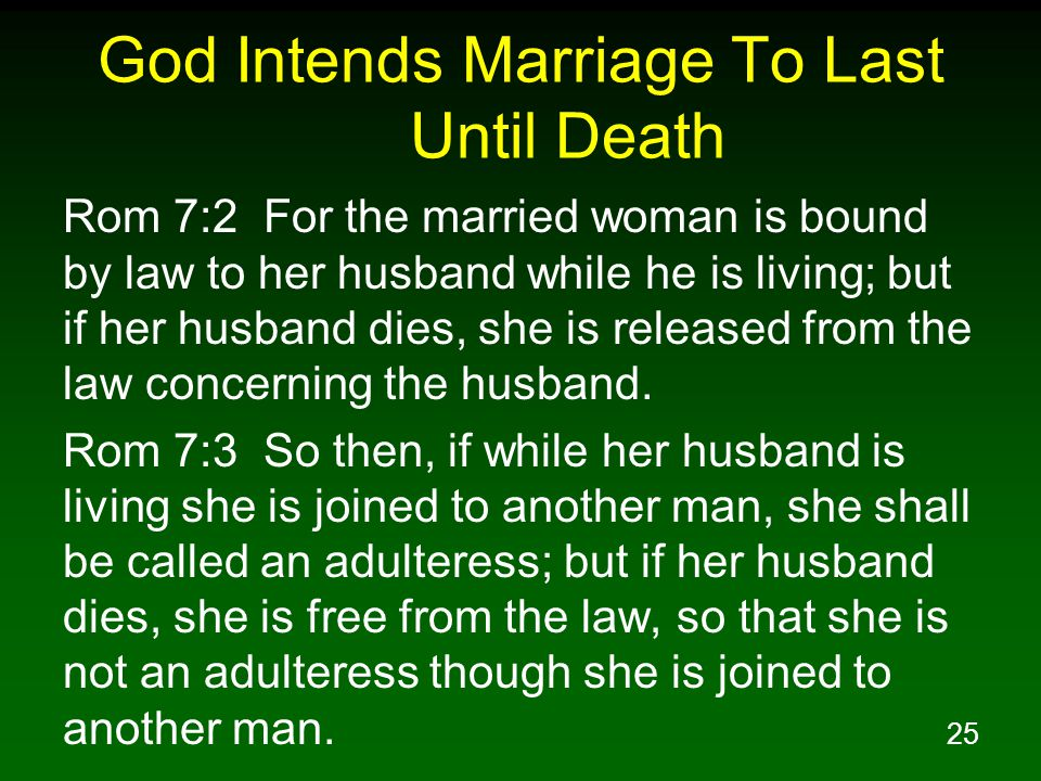God Intends Marriage To Last Until Death
