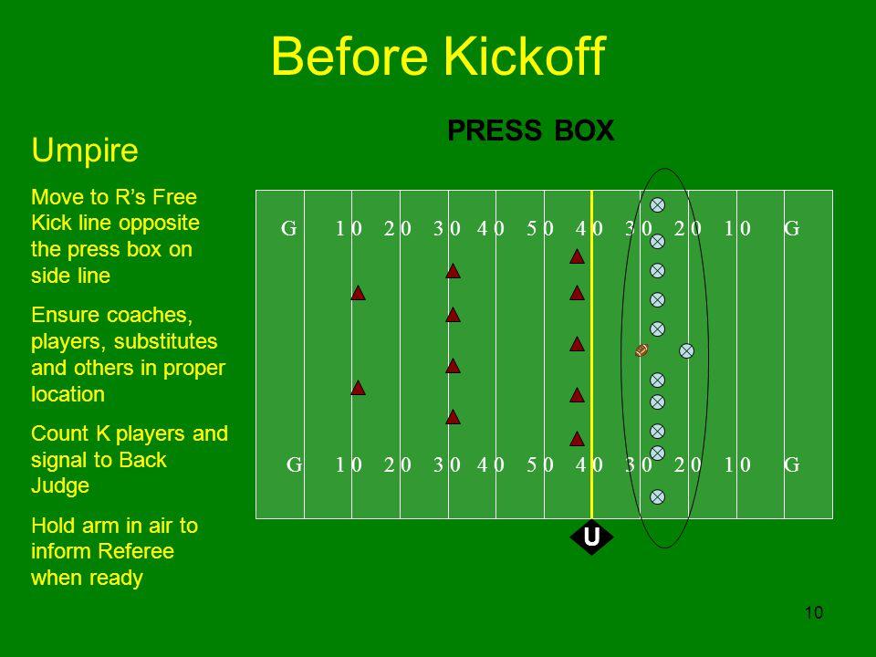 Before Kickoff Umpire PRESS BOX U