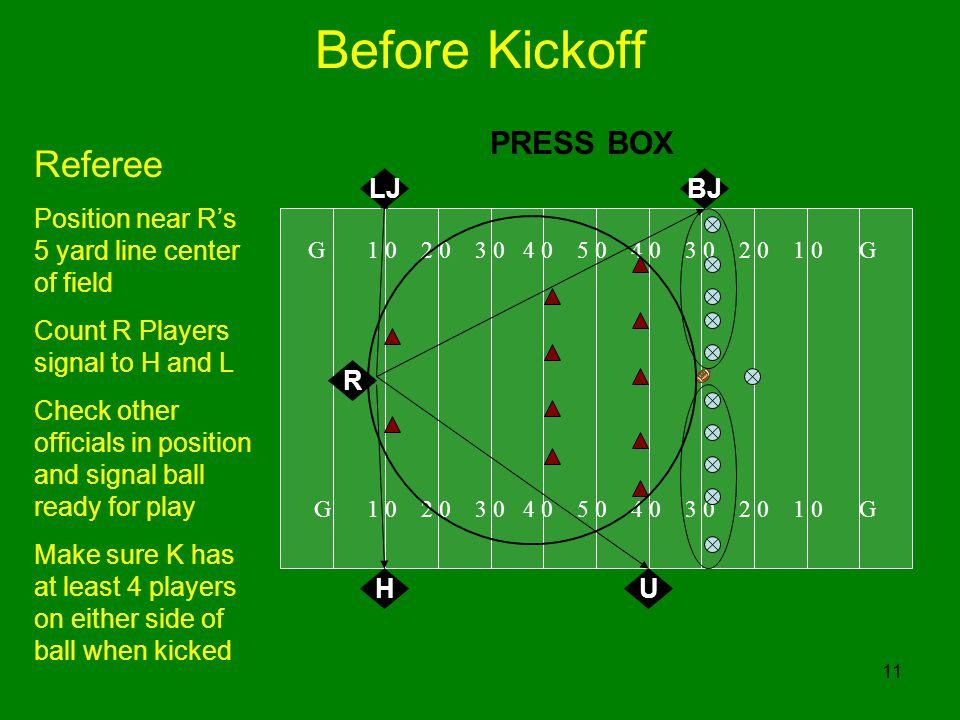 Before Kickoff Referee PRESS BOX