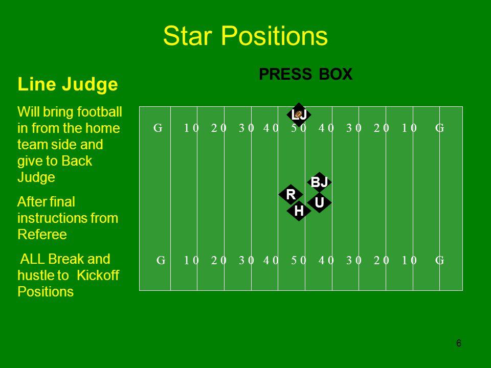 Star Positions Line Judge PRESS BOX