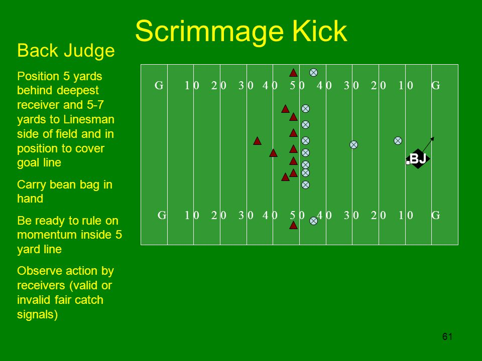 Scrimmage Kick Back Judge BJ