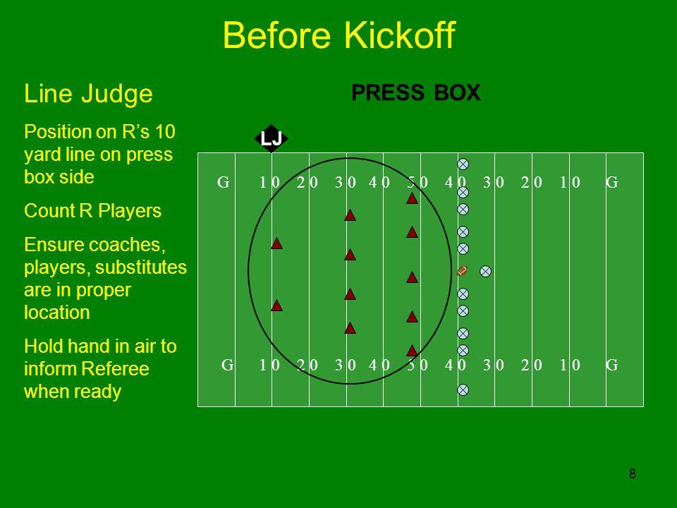 Before Kickoff Line Judge PRESS BOX