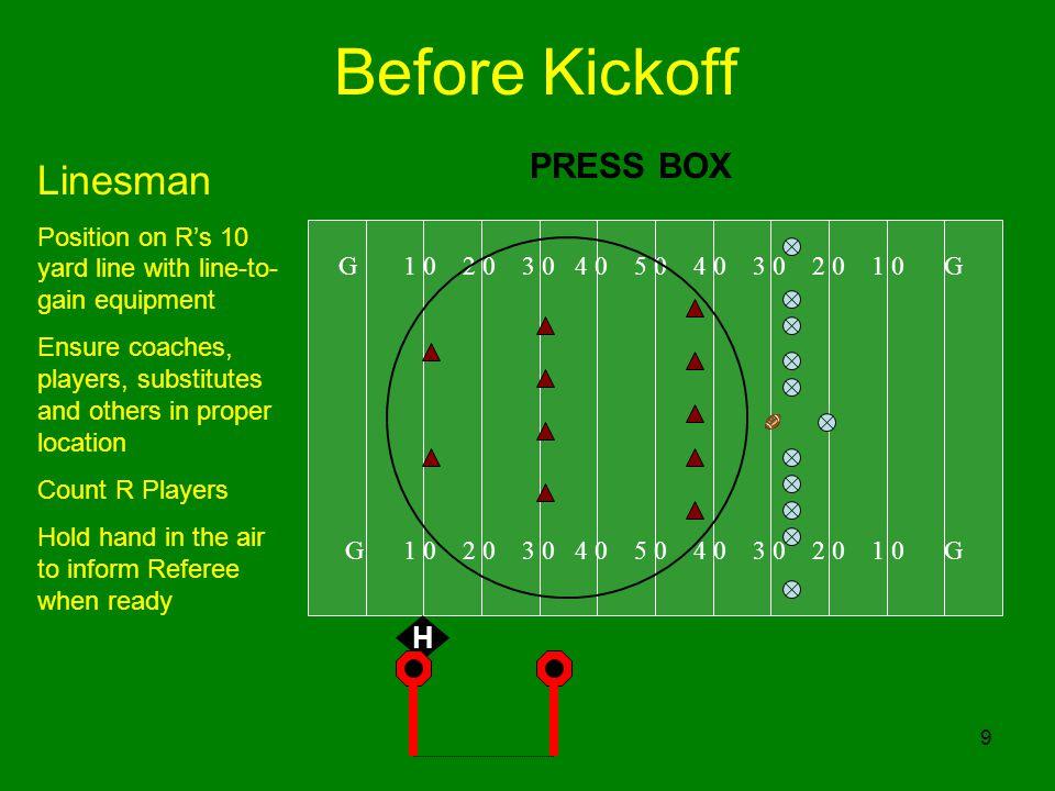 Before Kickoff Linesman PRESS BOX H