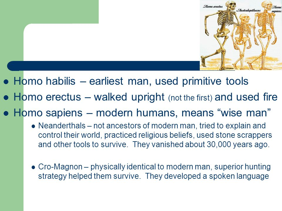 Homo habilis – earliest man, used primitive tools