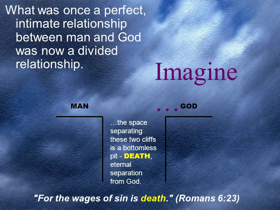 What was once a perfect, intimate relationship between man and God was now a divided relationship.