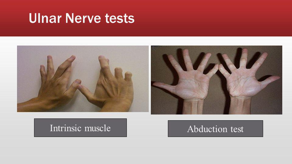 Ulnar Nerve tests Intrinsic muscle Abduction test