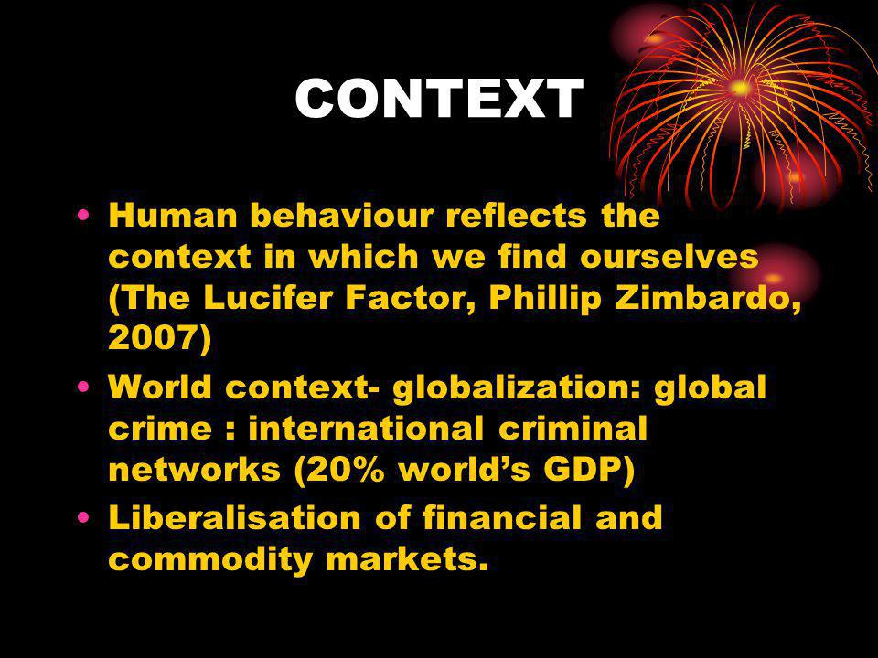 CONTEXT Human behaviour reflects the context in which we find ourselves (The Lucifer Factor, Phillip Zimbardo, 2007)