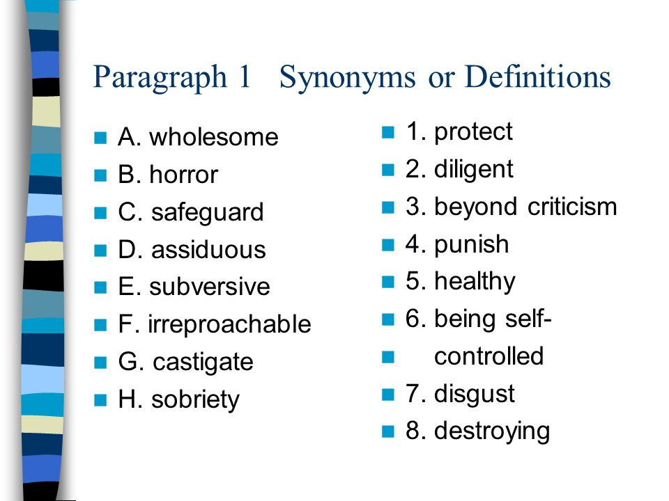 Paragraph 1 Synonyms or Definitions