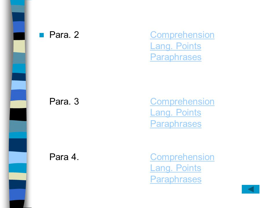 Para. 2 Comprehension Lang. Points Paraphrases Para. 3 Comprehension Para 4. Comprehension