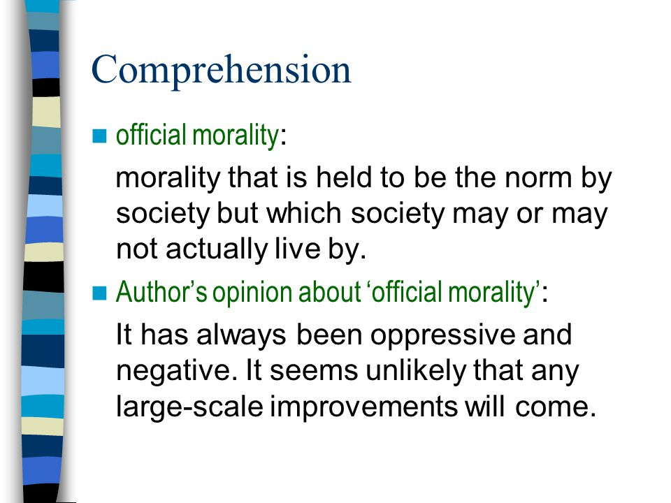 Comprehension official morality: