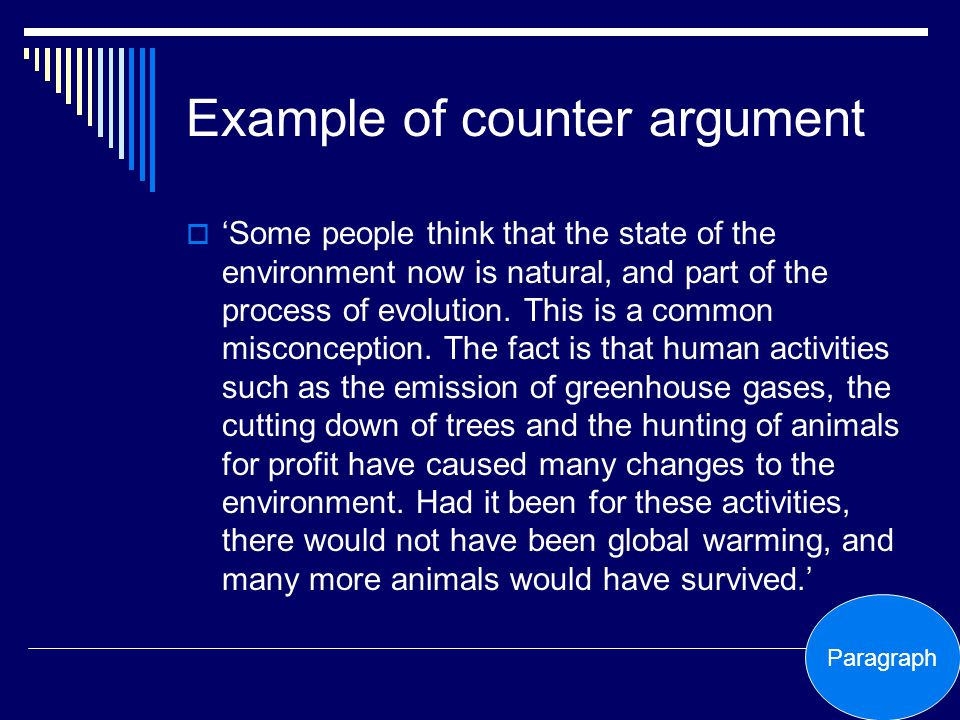 Example of counter argument