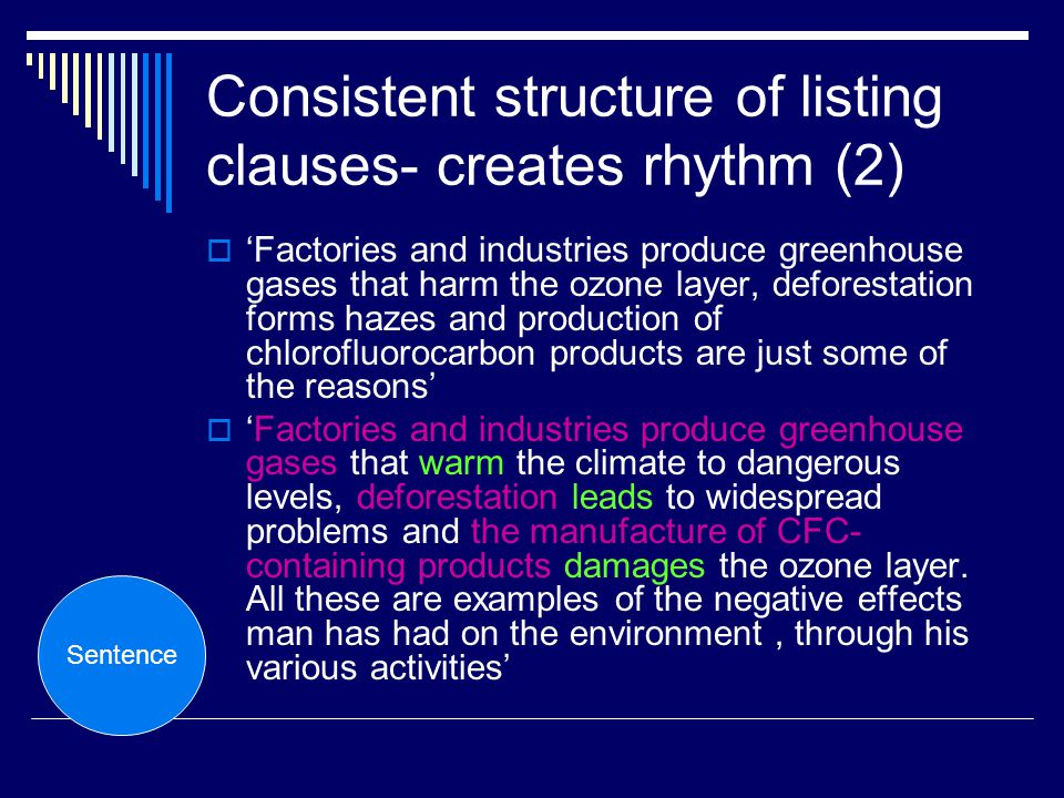 Consistent structure of listing clauses- creates rhythm (2)