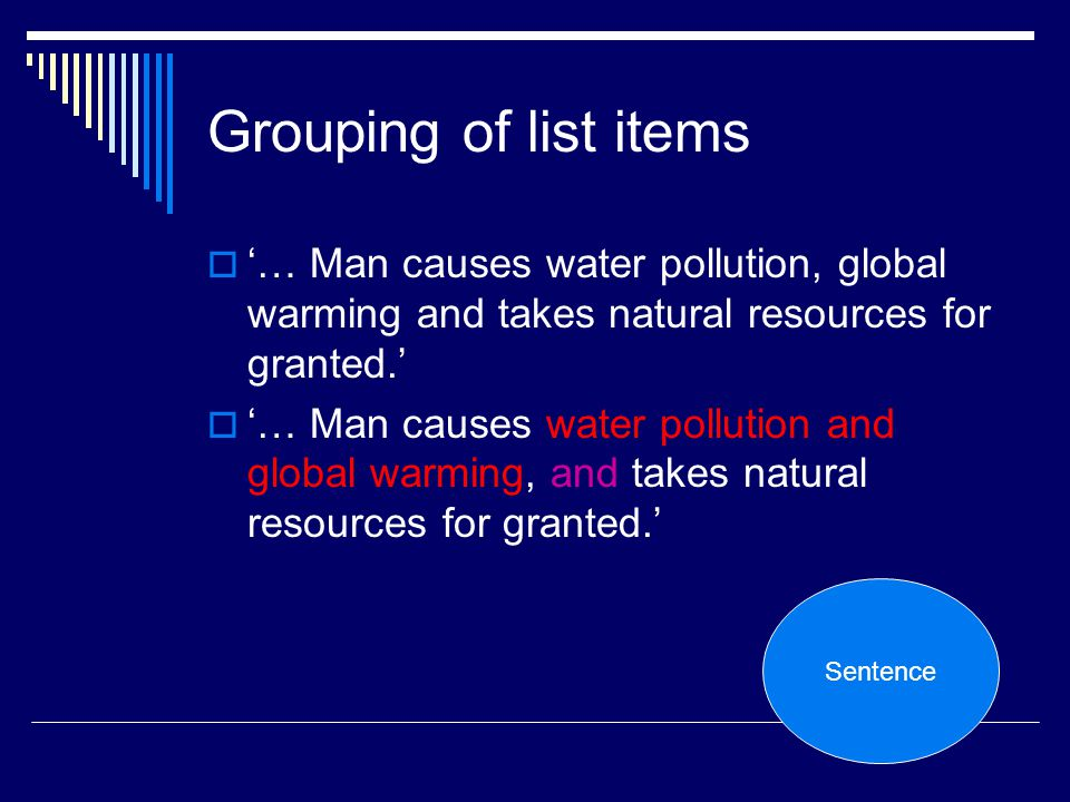 Grouping of list items '… Man causes water pollution, global warming and takes natural resources for granted.'