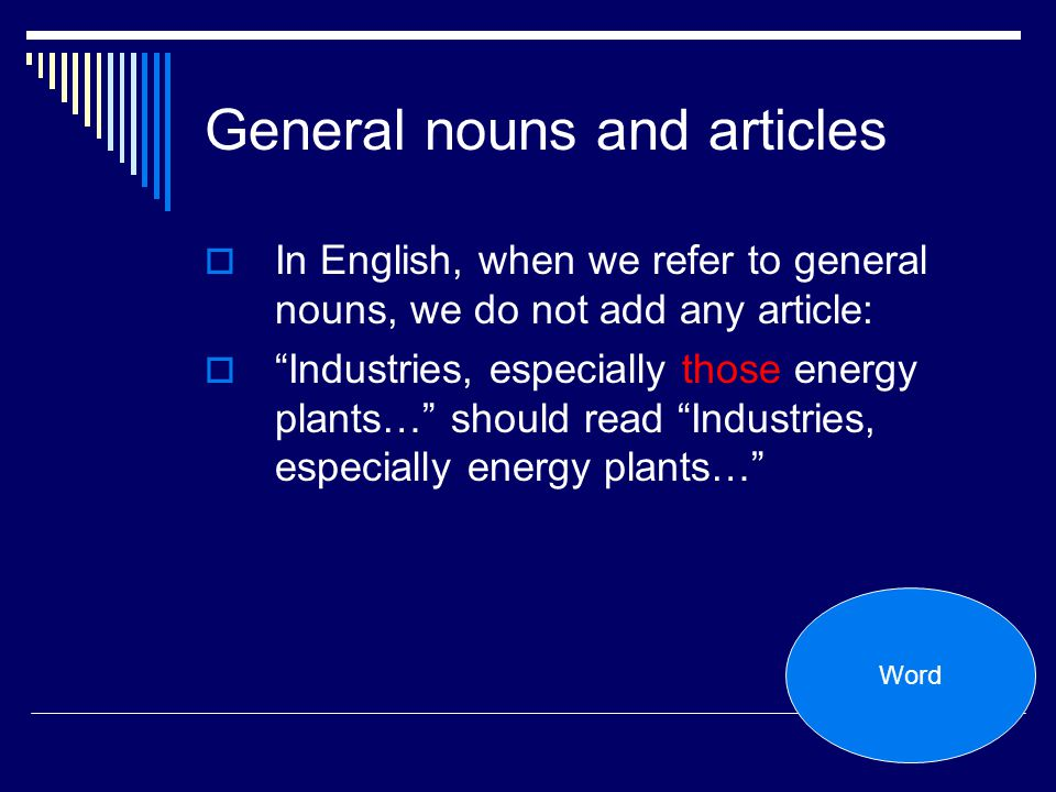 General nouns and articles