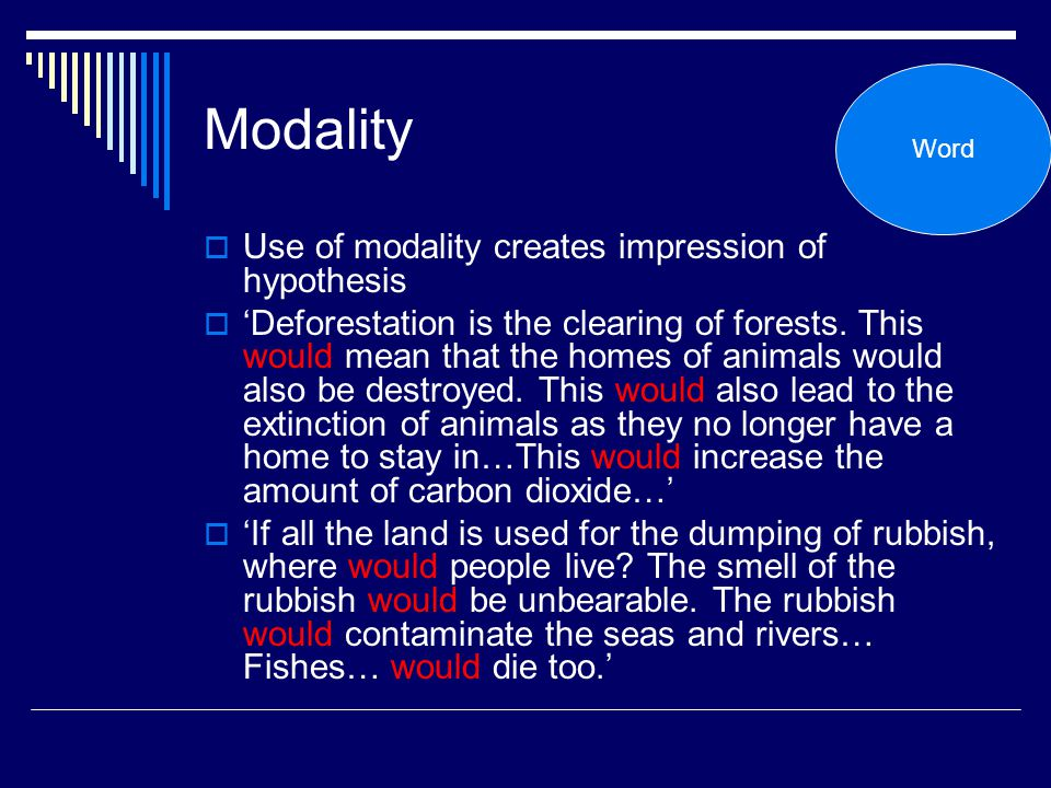 Modality Use of modality creates impression of hypothesis
