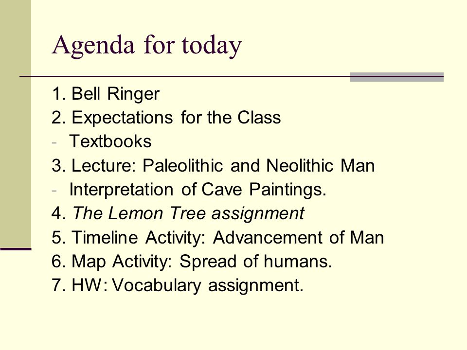 Agenda for today 1. Bell Ringer 2. Expectations for the Class
