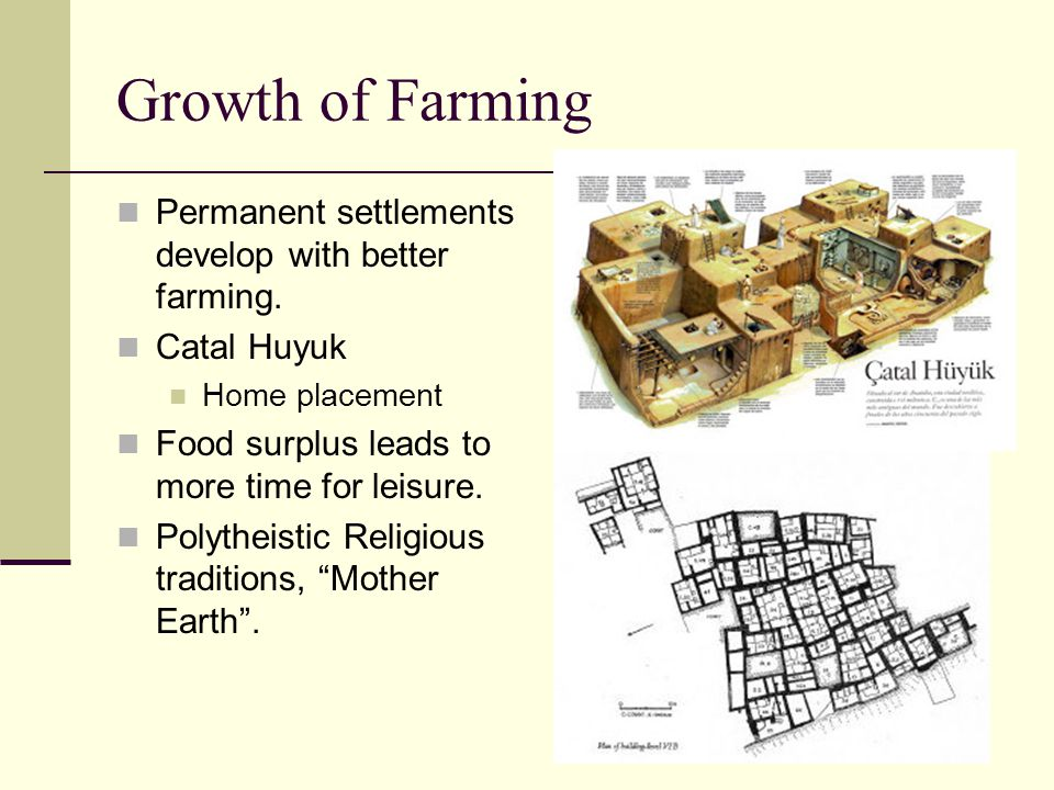 Growth of Farming Permanent settlements develop with better farming.