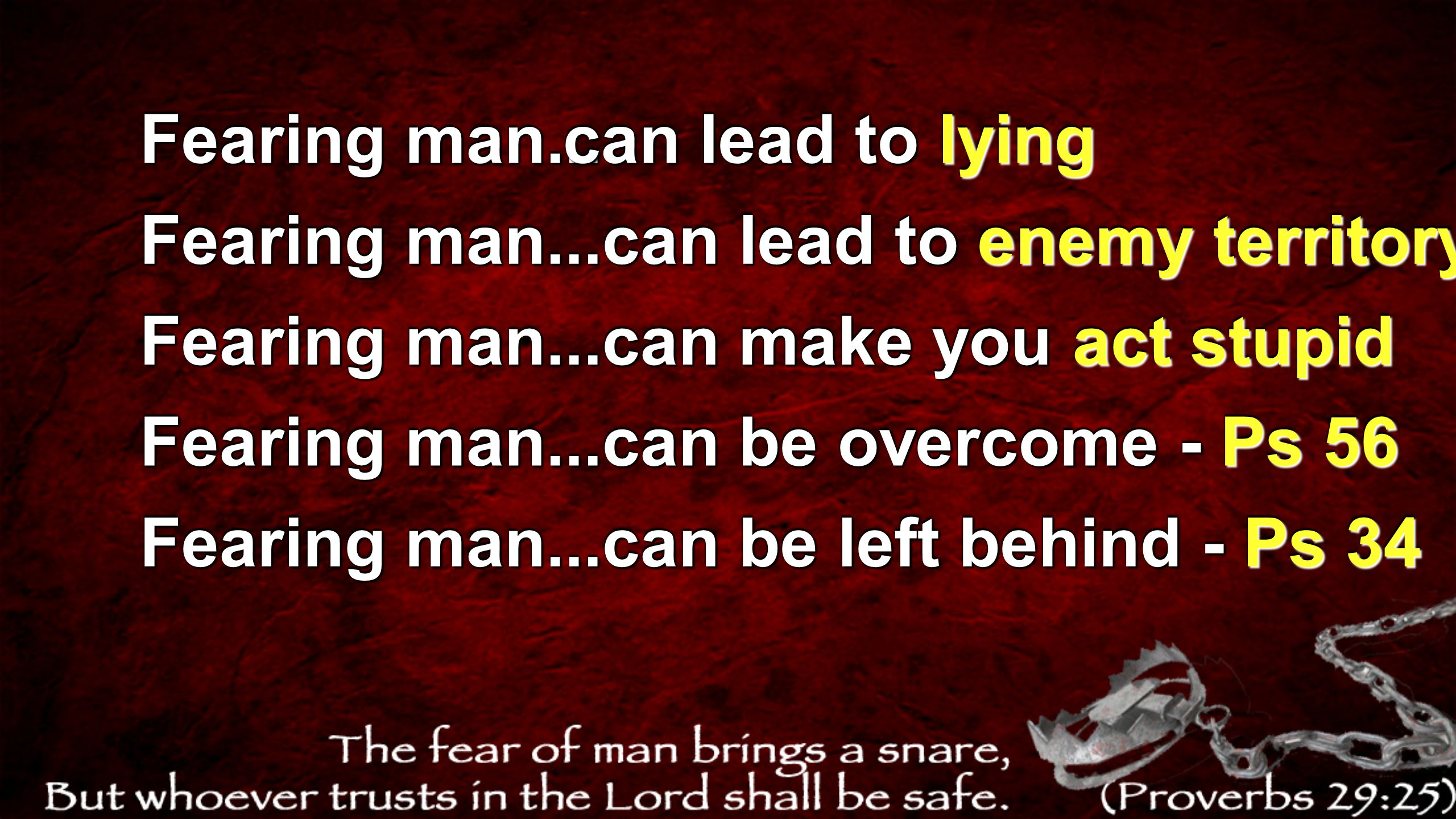 Fearing man... can lead to lying. Fearing man...can lead to enemy territory. Fearing man...can make you act stupid.