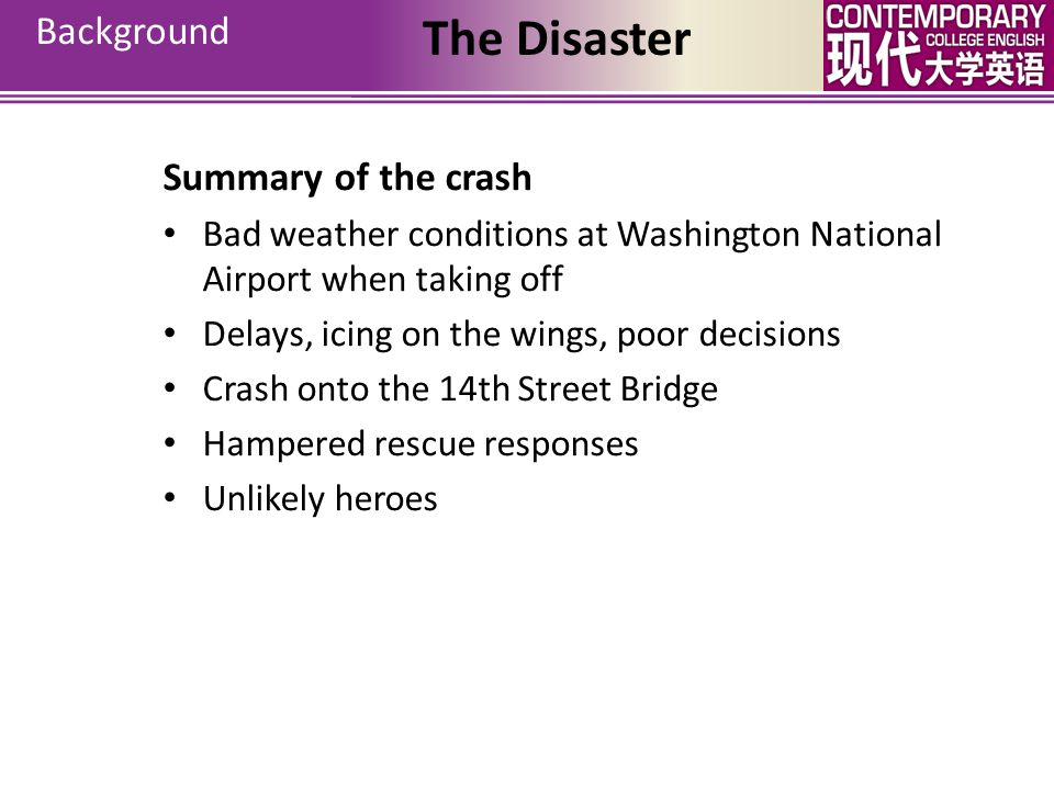 The Disaster Background Summary of the crash