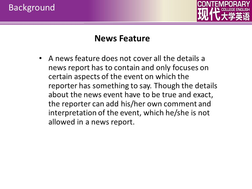Background News Feature