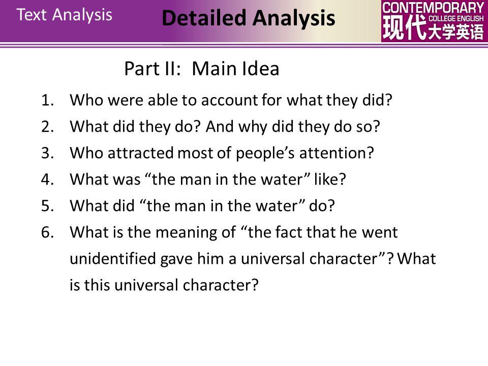 Detailed Analysis Part II: Main Idea Text Analysis